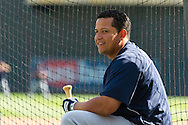 Miguel Cabrera #24 of the Detroit Tigers sits between at-bats during batting practice before a game against the Minnesota Twins on September 29, 2012 at Target Field in Minneapolis, Minnesota.  The Tigers defeated the Twins 6 to 4.  Photo: Ben Krause
