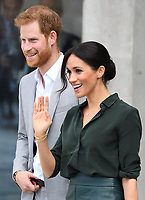 Prince Harry, The Duke of Sussex, and Meghan Markle, The Duchess of Sussex, officially open the University of Chichester's Engineering and Digital Technology Park in Bognor Regis, Sussex, UK, on the 3rd October 2018.<br /> <br /> Picture by James Whatling