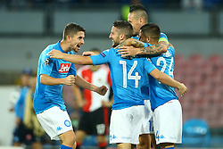 September 26, 2017 - Naples, Italy - Jorginho celebrating with Dries Mertnes, Marek Hamsik and Lorenzo Insigne during the UEFA Champion's League Group F football match Napoli vs Feyenoord Rotterdam on September 26, 2017 at the San Paolo stadium in Naples, Italy. (Credit Image: © Matteo Ciambelli/NurPhoto via ZUMA Press)