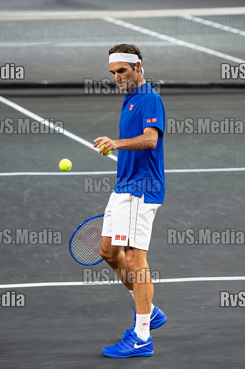 GENEVA, SWITZERLAND - SEPTEMBER 21: Roger Federer of Team Europe looks on during Day 2 of the Laver Cup 2019 at Palexpo on September 21, 2019 in Geneva, Switzerland. The Laver Cup will see six players from the rest of the World competing against their counterparts from Europe. Team World is captained by John McEnroe and Team Europe is captained by Bjorn Borg. The tournament runs from September 20-22. (Photo by Monika Majer/RvS.Media)