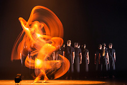 © Licensed to London News Pictures. 03/09/2015. London, UK. The Rashomon Effect choreographed by Akram Khan. Long exposure. 125 young dancers perform at the new annual Apex Rising Festival at Sadler's Wells organised by the National Youth Dance Company. Photo credit : Bettina Strenske/LNP