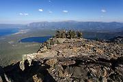 Mount Tallac trailhead overlooking lake Tahoe, California, USA