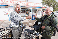 Californians and Thor Losers Doug Feinsod and Steve Gonzales at the Red Mesa Trading Post in Airizon during the Motorcycle Cannonball Race of the Century. Stage-11 ride from Durango, CO to Page, AZ. USA. Wednesday September 21, 2016. Photography ©2016 Michael Lichter.