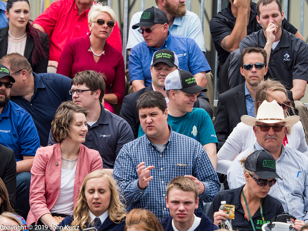 11 JUNE 2019 - COUNCIL BLUFFS, IOWA: People wait to see President Trump at Southwest Iowa Renewable Energy. President Trump visited Southwest Iowa Renewable Energy in Council Bluffs Tuesday to announce that his administration was relaxing rules on E15, an ethanol additive for gasoline. Iowa is one of the leading ethanol producers in the U.S. and Iowa corn farmers hope the administration's change in E15 rules will spur demand for corn.         PHOTO BY JACK KURTZ