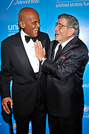 Harry Belafonte and Tony Bennett attends the UNICEF Snowflake Ball 2012 at Cipriani 42nd Street on November 27, 2012 in New York City.