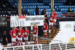 Bristol City Women walk out prior to kick off- Mandatory by-line: Will Cooper/JMP - 18/10/2020 - FOOTBALL - Twerton Park - Bath, England - Bristol City Women v Birmingham City Women - Barclays FA Women's Super League
