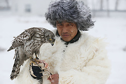 JILIN, Dec. 22, 2016  During a local tourism festival, a hunter feeds his goshawk in Jilin City of notheast China's Jilin Province, Dec. 22, 2016. Hunting with eagles is a traditional form of falconry among local ethnic groups.  lb) (Credit Image: © Cai Yang/Xinhua via ZUMA Wire)