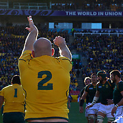 Stephen Moore, Australia, throws the ball in from the line out during the South Africa V Australia Quarter Final match at the IRB Rugby World Cup tournament. Wellington Regional Stadium, Wellington, New Zealand, 9th October 2011. Photo Tim Clayton...