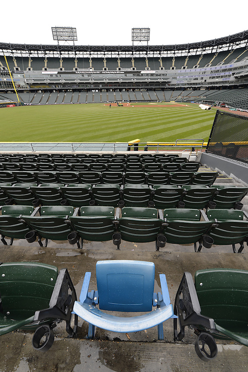 """CHICAGO, IL- A general view of the """"blue seat"""", which marks the location of where Paul Konerko's 2005 Game 2 World Series grand slam home run landed, at U.S. Cellular Field in Chicago, Illinois."""