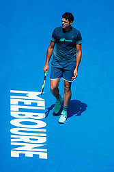 January 12, 2019 - Melbourne, VIC, U.S. - MELBOURNE, VIC - JANUARY 12: MILOS RAONIC (CAN) during practice day of the 2019 Australian Open on January 12, 2019 at Melbourne Park Tennis Centre Melbourne, Australia (Photo by Chaz Niell/Icon Sportswire) (Credit Image: © Chaz Niell/Icon SMI via ZUMA Press)