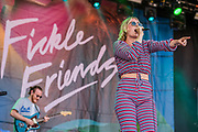 Fickle Friends play the Obelisk Arena - The 2018 Latitude Festival, Henham Park. Suffolk 15 July 2018