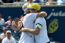 August 12, 2018 - Toronto, Ontario, Canada - HENRI KONTINEN of Finland and JOHN PEERS of Australia after winning the doubles title at the Rogers Cup tennis tournament (Credit Image: © Christopher Levy via ZUMA Wire)