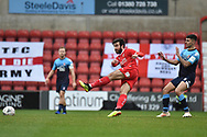 Swindon Town midfielder Michael Doughty (10) takes a shot at goal  during the The FA Cup 2nd round match between Swindon Town and Woking at the County Ground, Swindon, England on 2 December 2018.