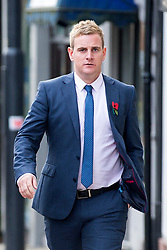 © Licensed to London News Pictures. 15/11/2017. Wakefield, UK. Corpus Christi Catholic school teacher Andrew Kellett arrives for the third day of the Ann Maguire inquest at Wakefield Coroners Court this morning. Mrs Maguire, a 61 year old Spanish teacher, was stabbed to death by Will Cornick at Corpus Christi Catholic College in Leeds in April 2014. The school pupil, who was 15 at the time, admitted murdering Mrs Maguire and was given a life sentence later that year. Since then, some of Mrs Maguire's family have campaigned for further investigation into her death as they believe more could have been done to prevent the tragedy. Photo credit: Andrew McCaren/LNP