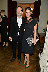 MARY McCARTNEY and SIMON ABOUD at a party to kick off London Fashion Week hosted by US Ambassador Matthew Barzun and Mrs Brooke Brown Barzun with Alexandra Shulman in association with J.Crew hrld at Winfield House, Regent's Park, London on 18th September 2015.