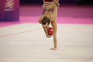 Olga Bogdanova, Estonia, during day one of the 33rd European Rhythmic Gymnastics at Papp Laszlo Budapest Sports Arena, Budapest, Hungary on 19 May 2017. Photo by Myriam Cawston.
