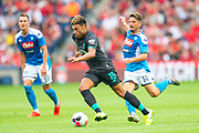 Alex Oxlade-Chamberlain (#15) of Liverpool FC runs past Dries Mertens (#14) of SSC Napoli during the Pre-Season Friendly match between Liverpool FC and SSC Napoli at BT Murrayfield Stadium, Edinburgh, Scotland on 28 July 2019.