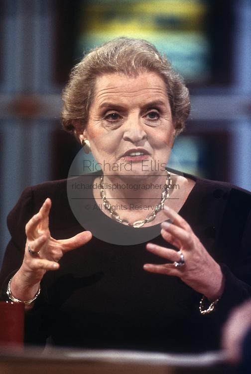 Secretary of State Madeleine Albright on NBC's Meet the Press in Washington, DC.