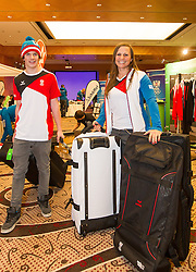 28.01.2014,  Marriott, Wien, AUT, Sochi 2014, Einkleidung OeOC, im Bild der jüngste Olympionike Marco Ladner (Freestyle, AUT) mit der ältesten Teilnehmerin Claudia Riegler (Snowboard, AUT) // the youngest Olympian Marco Ladner (Freestyle, AUT) with the oldest participant Claudia Riegler (Snowboard, AUT)<br /> during the outfitting of the Austrian National Olympic Committee for Sochi 2014 at the  Marriott in Vienna, Austria on 2014/01/28. EXPA Pictures © 2014, PhotoCredit: EXPA/ JFK