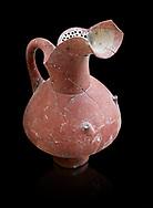 Hittite spouted pitcher with strainer, Hittite capital Hattusa, Hittite  Middle  Kingdom 1650-1450 BC, Bogazkale archaeological Museum, Turkey. Black  background
