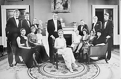 THE REAGAN FAMILY, In the White House. Back Row Left to Right: GEOFFREY DAVIS, DENNIS REVELL, MICHAEL REAGAN, CAMERON REAGON, President RONALD REAGAN, NEIL REAGAN, Dr RICHARD DAVIS and RON REAGAN. Front Row Left to Right: ANNE DAVIS, MAUREEN REAGAN, COLLEEN REAGAN, Mrs NANCY REAGAN, First Lady, BESS REAGAN, PATRICIA DAVIS, PATTI DAVIS and DORIA REAGAN. 21.05.1981. EXPA Pictures © 2016, PhotoCredit: EXPA/ Photoshot/ Photoshot<br /> <br /> *****ATTENTION - for AUT, SLO, CRO, SRB, BIH, MAZ, SUI only*****