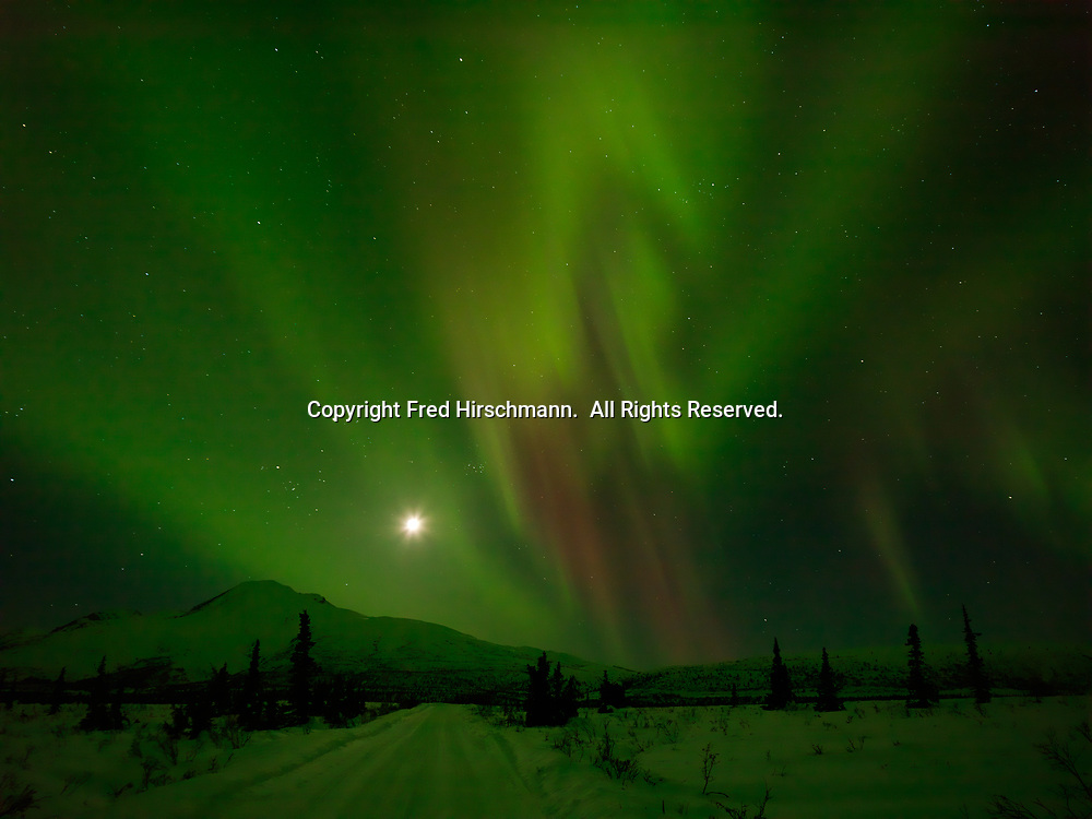 Green and red aurora borealis with moon above Sheep Mountain, night of March 16-17, 2013, Tahneta Pass, Alaska.