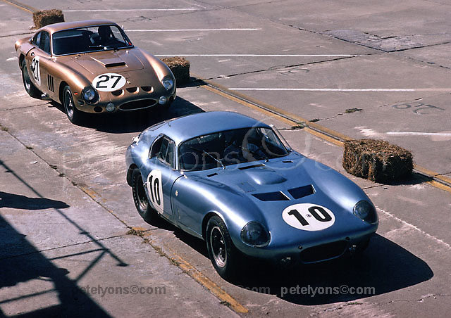 First Cobra Daytona coupe in company with Ferrari leaving pits at 1964 Sebring 12-hour event, photo by Ozzie Lyons / www.petelyons.com