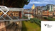 Representación virtual de la plataforma de eventos gastronómicos El Vol Gastronòmic. Dicha plataforma se instaló en el Pont de Pedra sobre el Río Onyar de Girona hasta que finalmente se retiró por falta de asistencia.