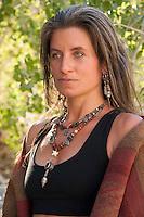 Portrait of beautiful shamanic woman.