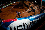 Riders go arounbd the last berm in the semi finals at the UCI BMX Supercross World Cup, Pietermaritzburg, 2011