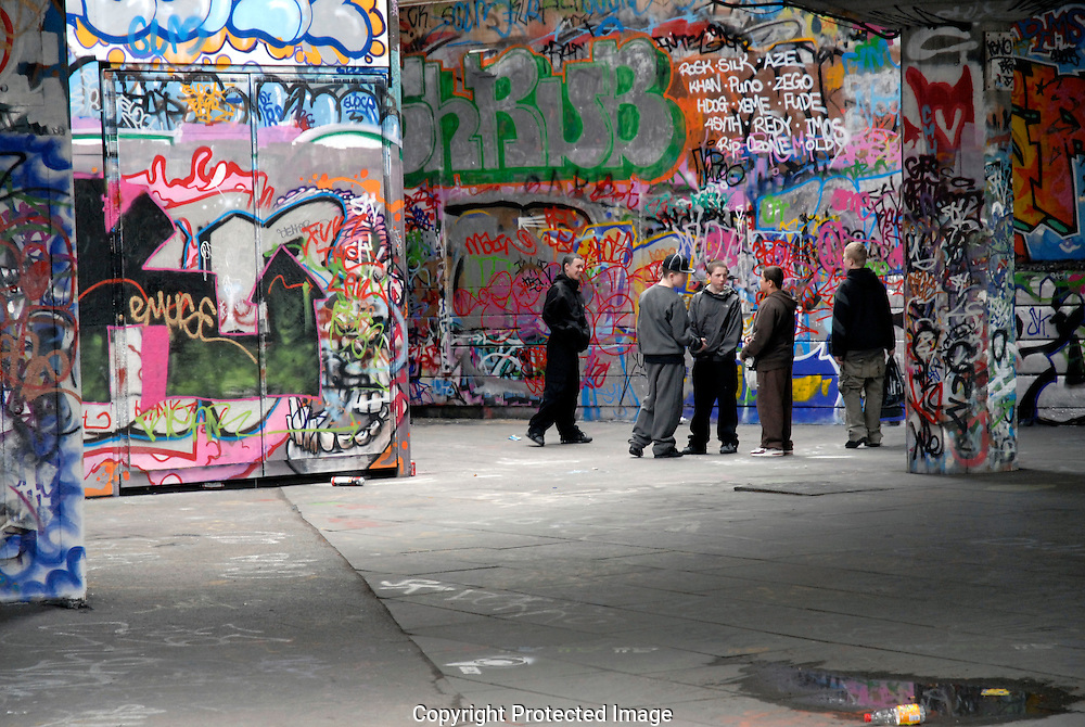 Group of young lads t South bank Skate Park