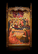 Gothic altarpiece of the Dormition of the Madonna (Dormicio de la Mare de Dieu) by Pere Garcia de Benavarri, circa 1460-1465, tempera and gold leaf on wood.  National Museum of Catalan Art, Barcelona, Spain, inv no: MNAC  64040. Against a black background. . .<br /> <br /> If you prefer you can also buy from our ALAMY PHOTO LIBRARY  Collection visit : https://www.alamy.com/portfolio/paul-williams-funkystock/gothic-art-antiquities.html  Type -     MANAC    - into the LOWER SEARCH WITHIN GALLERY box. Refine search by adding background colour, place, museum etc<br /> <br /> Visit our MEDIEVAL GOTHIC ART PHOTO COLLECTIONS for more   photos  to download or buy as prints https://funkystock.photoshelter.com/gallery-collection/Medieval-Gothic-Art-Antiquities-Historic-Sites-Pictures-Images-of/C0000gZ8POl_DCqE