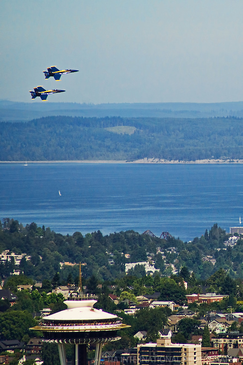 Blue Angels Fly over the Space Needle