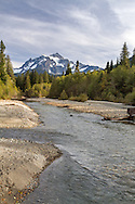 Mount Shuksan and the North Fork of the Nooksack River in the Mount Baker-Snoqualmie National Forest. Photographed from NF-32 near the Mount Baker Highway and Shuksan Picnic Area in Washington State, USA.