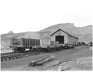 Number of freight cars near Durango car repair shop.<br /> D&RGW  Durango, CO