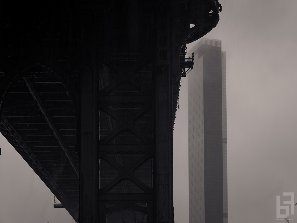 shots of newly constructed One Manhattan in the fog and rain Down Under the Manhattan Bridge Overpass
