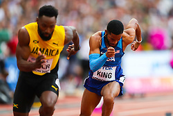 London, 2017 August 07. Rasheed Dwyer, Jamaica and Kyree King, USA, in the men's 200m heats on day four of the IAAF London 2017 world Championships at the London Stadium. © Paul Davey.