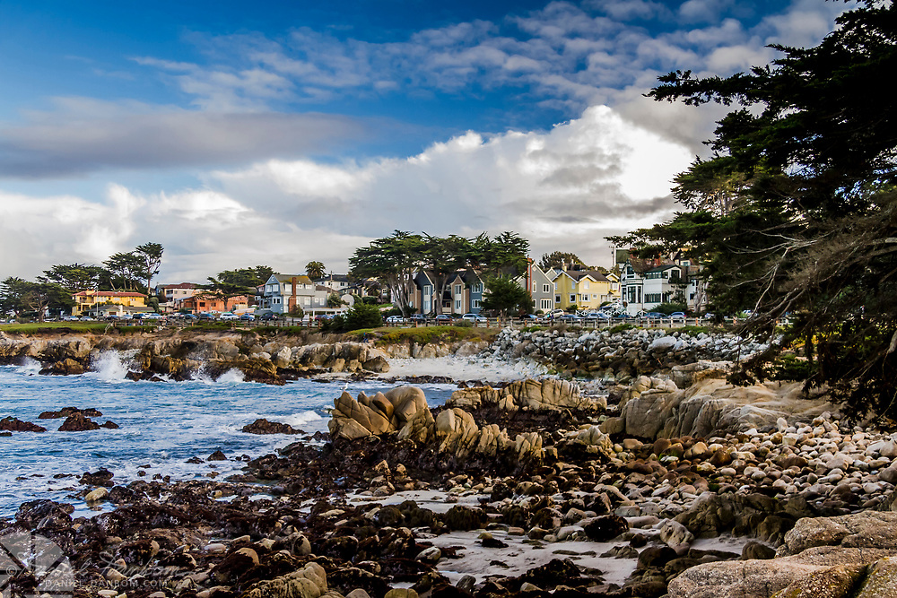 Pacific Grove waterfront trail, tidepool rocks, waves, and scenic drive view, California