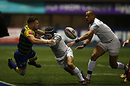 Owen Lane of Cardiff Blues (l)   gets a pass away as he is tackled by Cheslin Kolbe of Stade Toulouse. European Rugby Challenge Cup, pool 2 match, Cardiff Blues v Toulouse at the BT Cardiff Arms Park, in Cardiff, South Wales on Sunday 14th January 2018.<br /> pic by  Andrew Orchard, Andrew Orchard sports photography.