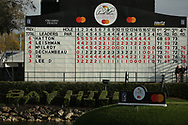 The score board from the 18th during the final round of the Arnold Palmer Invitational presented by Mastercard, Bay Hill, Orlando, Florida, USA. 08/03/2020.<br /> Picture: Golffile   Scott Halleran<br /> <br /> <br /> All photo usage must carry mandatory copyright credit (© Golffile   Scott Halleran)