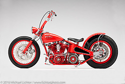 A custom motorcycle built from a Magnum (Sportster top end, and Flathead bottom end) by Arlen Ness. Photographed by Michael Lichter in Sacramento, CA, USA on 1/12/19. ©2019 Michael Lichter.