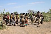 Africa, Tanzania, Lake Eyasi, Hadza tribe dance A small tribe of hunter gatherers AKA Hadzabe April 2007