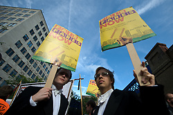© Licensed to London News Pictures. 14/08/2012. London,UK. Passengers protest outside Waterloo station Train Station in London on August, 14, 2012 against today's announcement of a 6.2% increase in fairs due to take effect in January 2013.  Photo credit : Thomas Campean/LNP