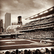 An Instagram of Target Field during a game between the Cleveland Indians and the Minnesota Twins in Minneapolis, Minnesota.