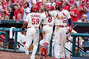 Saint Louis Cardinals Right Fielder Jason Heyward high fives Cardinals first baseman Xavier Scruggs on his RBI during a game against the Chicago Cubs June 27, 2015 at Busch Stadium in Saint Louis, Mo