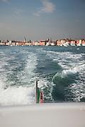 Water taxi on the Canale della Giudecca. Venice Italy, Europe