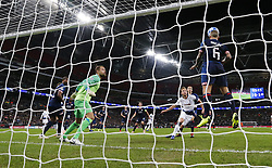 BRITAIN-LONDON-FOOTBALL-CHAPIONS LEAGUE-HOTSPUR VS EINDHOVEN.(181106) -- LONDON, Nov. 6, 2018  Eindhoven's Angelino (1st R) heads for the ball during the UEFA Champions League match between Tottenham Hotspur and PSV Eindhoven in London, Britain on Nov. 6, 2018. Tottenham Hotspur won 2-1.  FOR EDITORIAL USE ONLY. NOT FOR SALE FOR MARKETING OR ADVERTISING CAMPAIGNS. NO USE WITH UNAUTHORIZED AUDIO, VIDEO, DATA, FIXTURE LISTS, CLUBLEAGUE LOGOS OR ''LIVE'' SERVICES. ONLINE IN-MATCH USE LIMITED TO 45 IMAGES, NO VIDEO EMULATION. NO USE IN BETTING, GAMES OR SINGLE CLUBLEAGUEPLAYER PUBLICATIONS. (Credit Image: © Xinhua via ZUMA Wire)