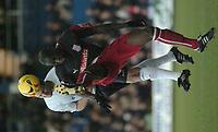 Photo: Ian Hebden.<br />Luton Town v Stoke City. Coca Cola Championship.<br />17/12/2005.<br />Luton's Chris Coyne (L) beats Stoke's Mamady Sidibe to the ball.