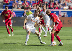 September 30, 2018 - Harrison, New Jersey, United States - Daniel Royer (77) of Red Bulls & Julian Gressel (24) of Atlanta United FC fight for ball during regular MLS game at Red Bull Arena Red Bulls won 2 - 0  (Credit Image: © Lev Radin/Pacific Press via ZUMA Wire)