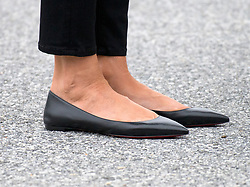 First lady Melania Trump shoes as she accompanies her husband, United States President Donald J. Trump, on a tour of the US Secret Service James J. Rowley Training Center in Beltsville, Maryland on Friday, October 13, 2017.<br /> (Photo by Ron Sachs/CNP/Sipa USA)